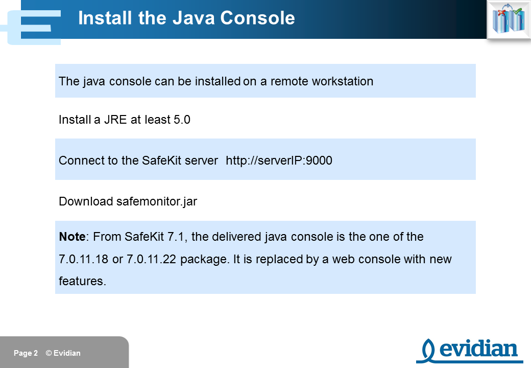 Evidian SafeKit Training - Java Management Console - Slide 2