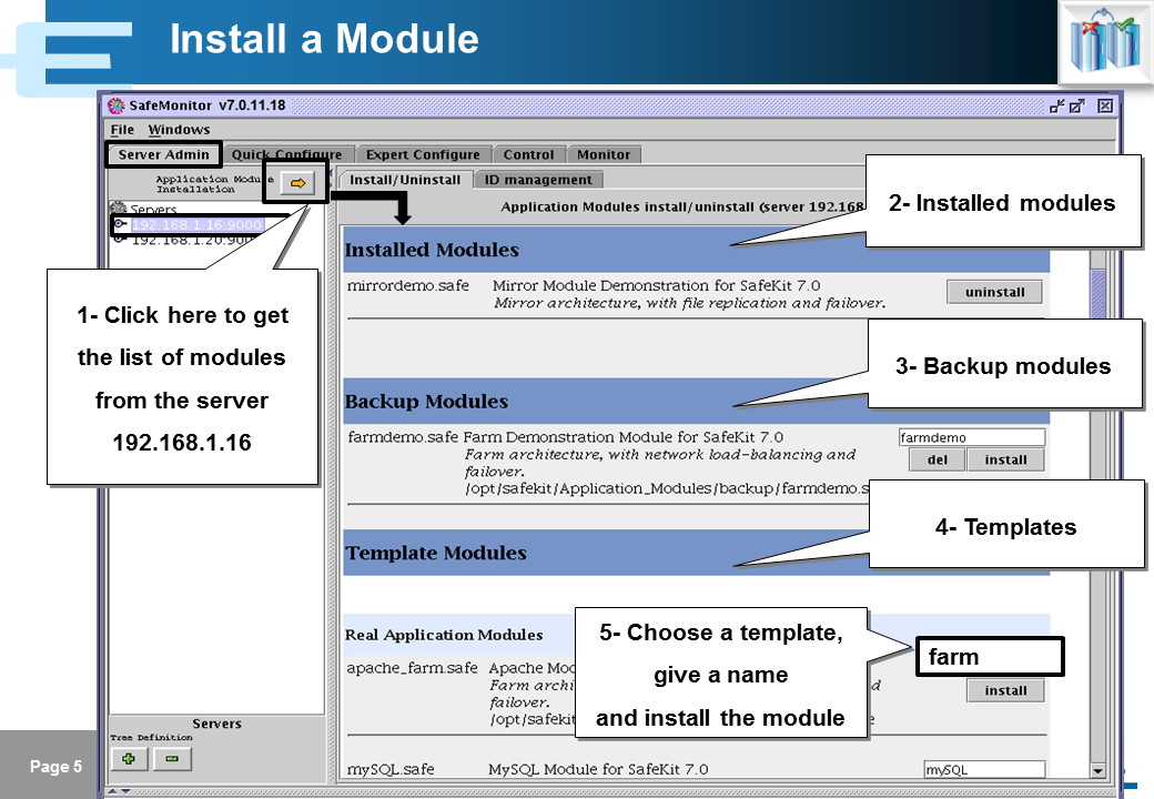 Evidian SafeKit Training - Java Management Console - Slide 5