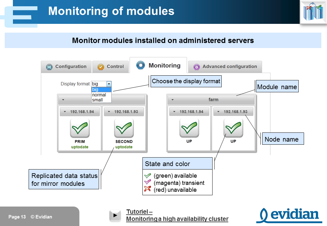 Evidian SafeKit Training - Management Console Web - Slide 13