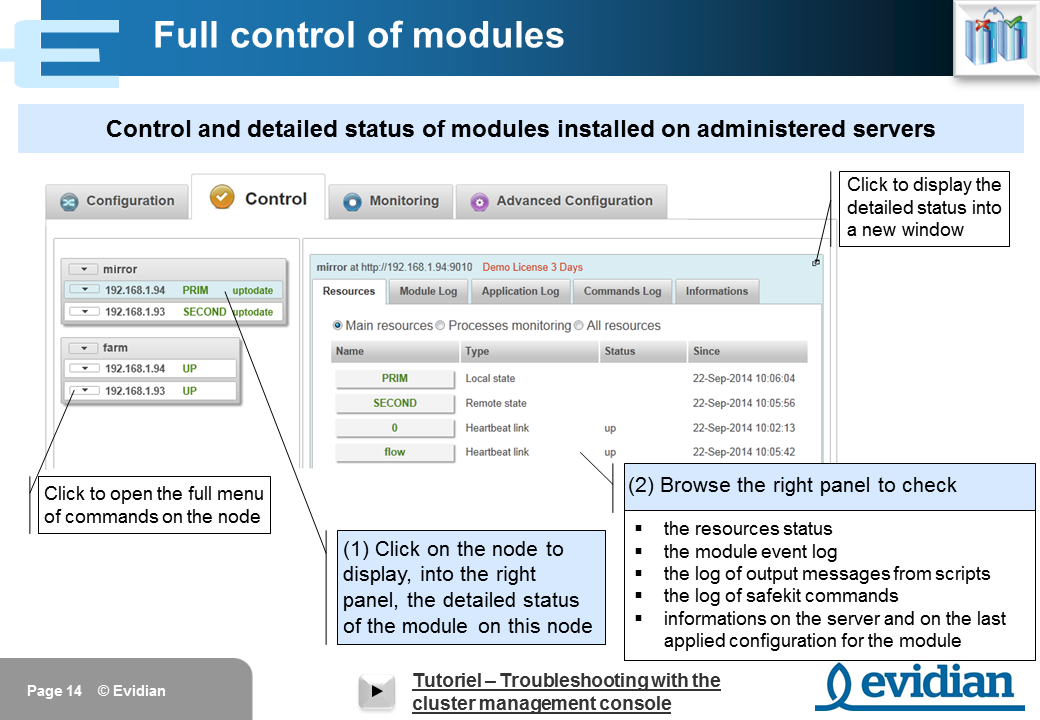 Evidian SafeKit Training - Management Console Web - Slide 14
