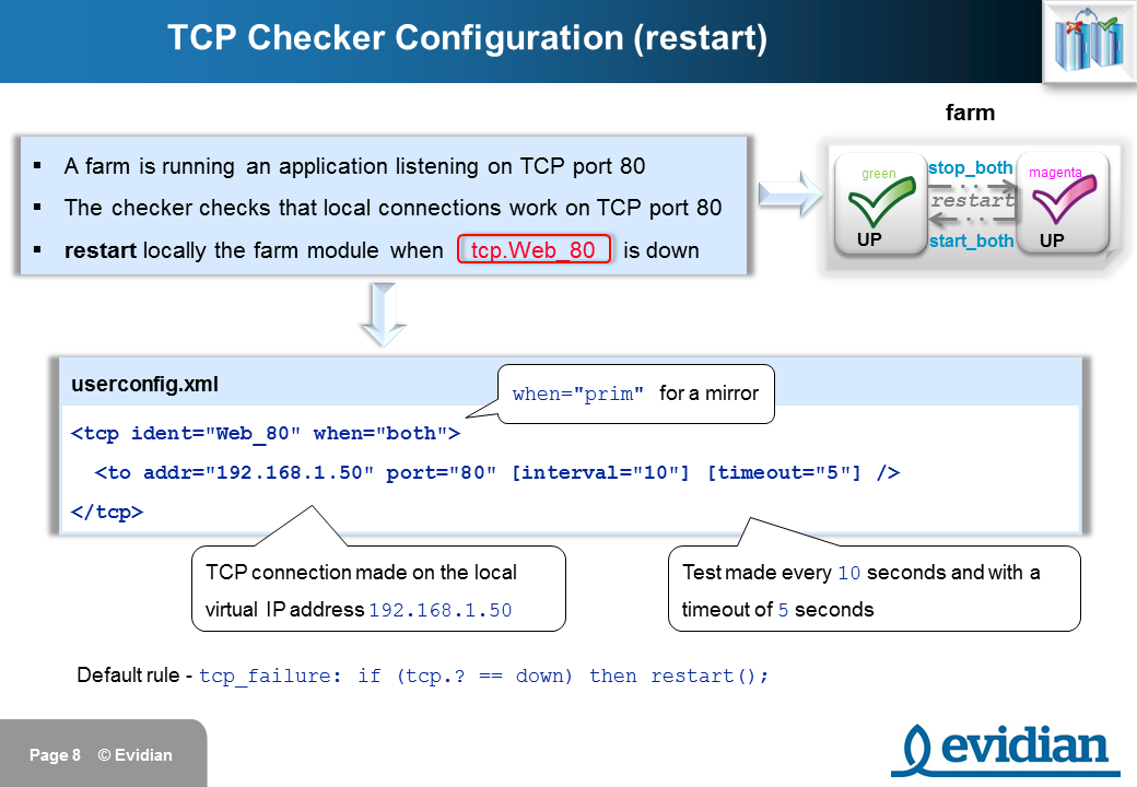 Evidian SafeKit Training - Checkers Configuration - Slide 8
