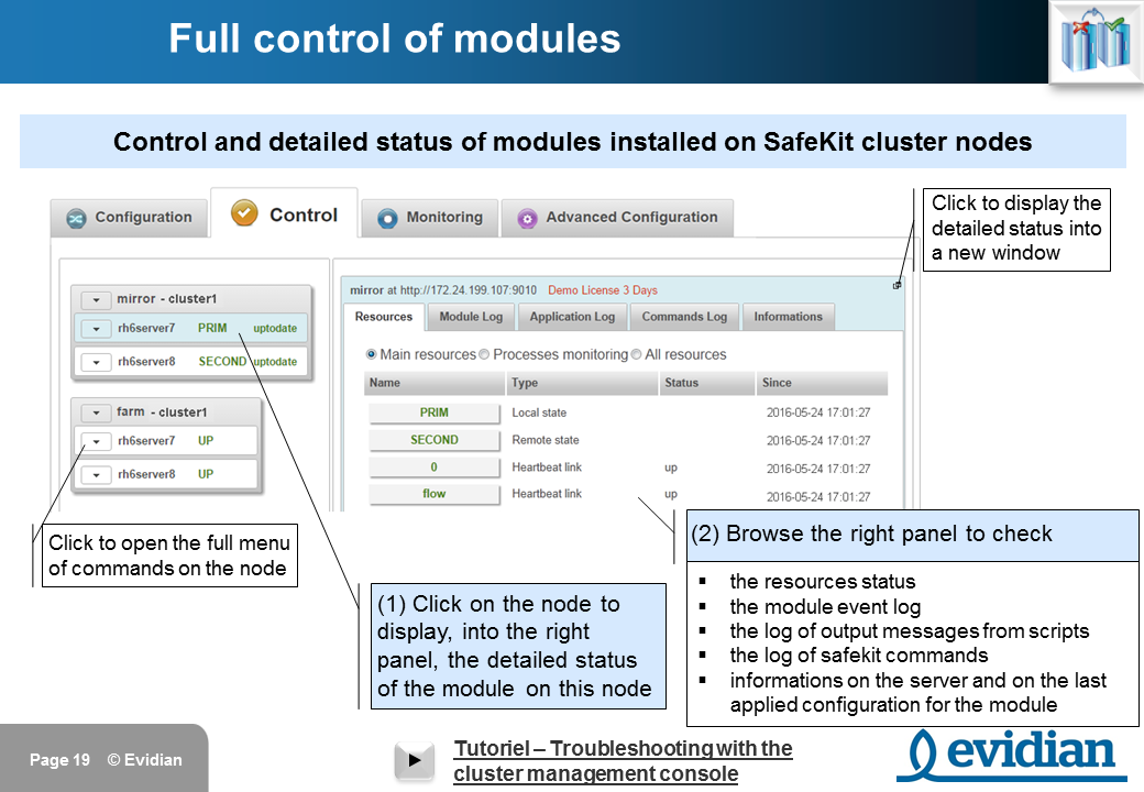Evidian SafeKit Training - Management Console Web - Slide 19