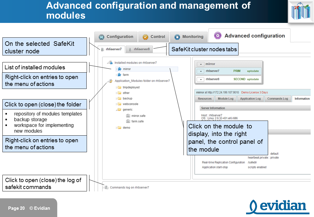 Evidian SafeKit Training - Management Console Web - Slide 20