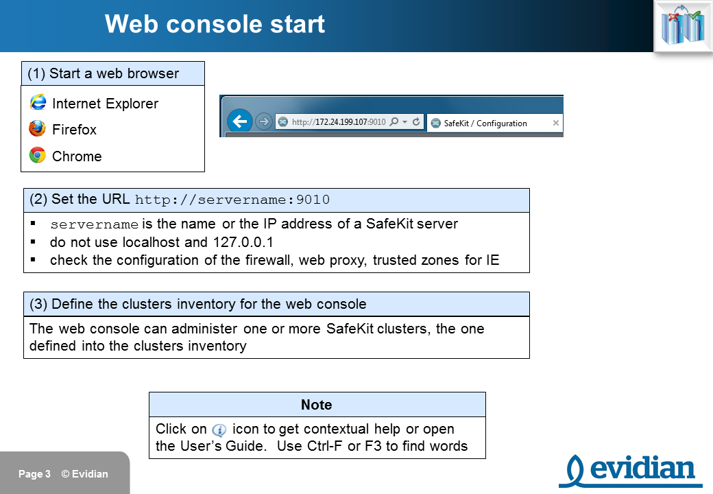 Evidian SafeKit Training - Management Console Web - Slide 3