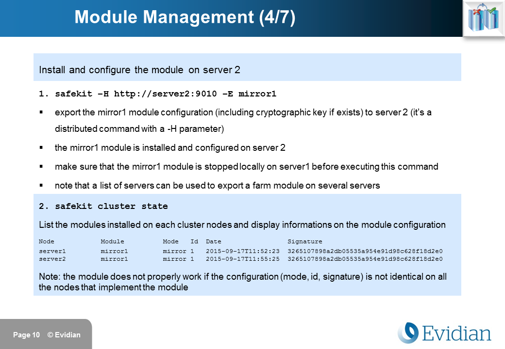Evidian SafeKit Training - Command Line Interface - Slide 10