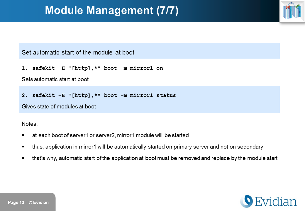 Evidian SafeKit Training - Command Line Interface - Slide 13