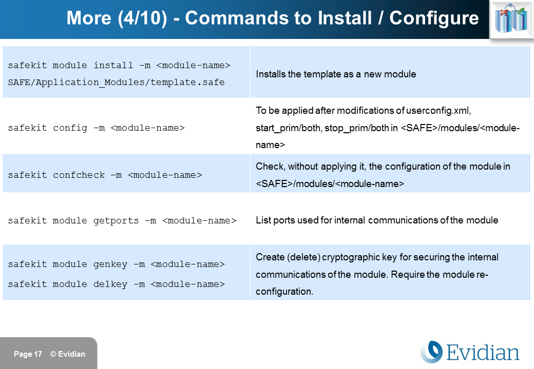 Evidian SafeKit Training - Command Line Interface - Slide 17