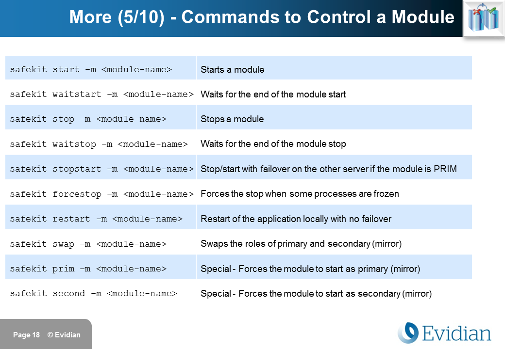 Evidian SafeKit Training - Command Line Interface - Slide 18