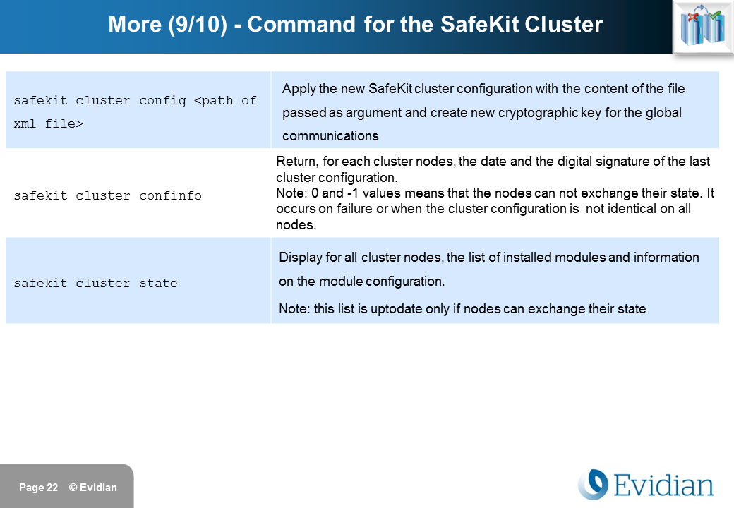 Evidian SafeKit Training - Command Line Interface - Slide 22