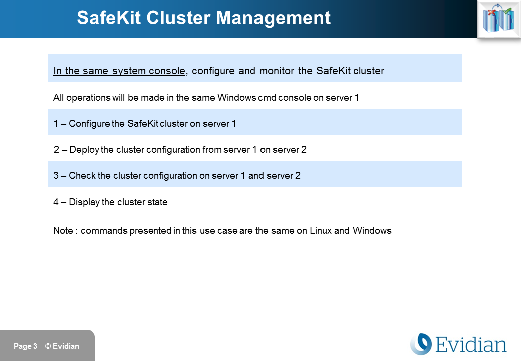 Evidian SafeKit Training - Command Line Interface - Slide 3