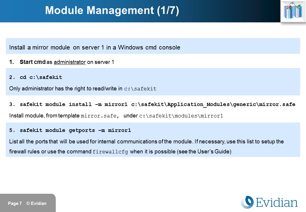 Evidian SafeKit Training - Command Line Interface - Slide 7