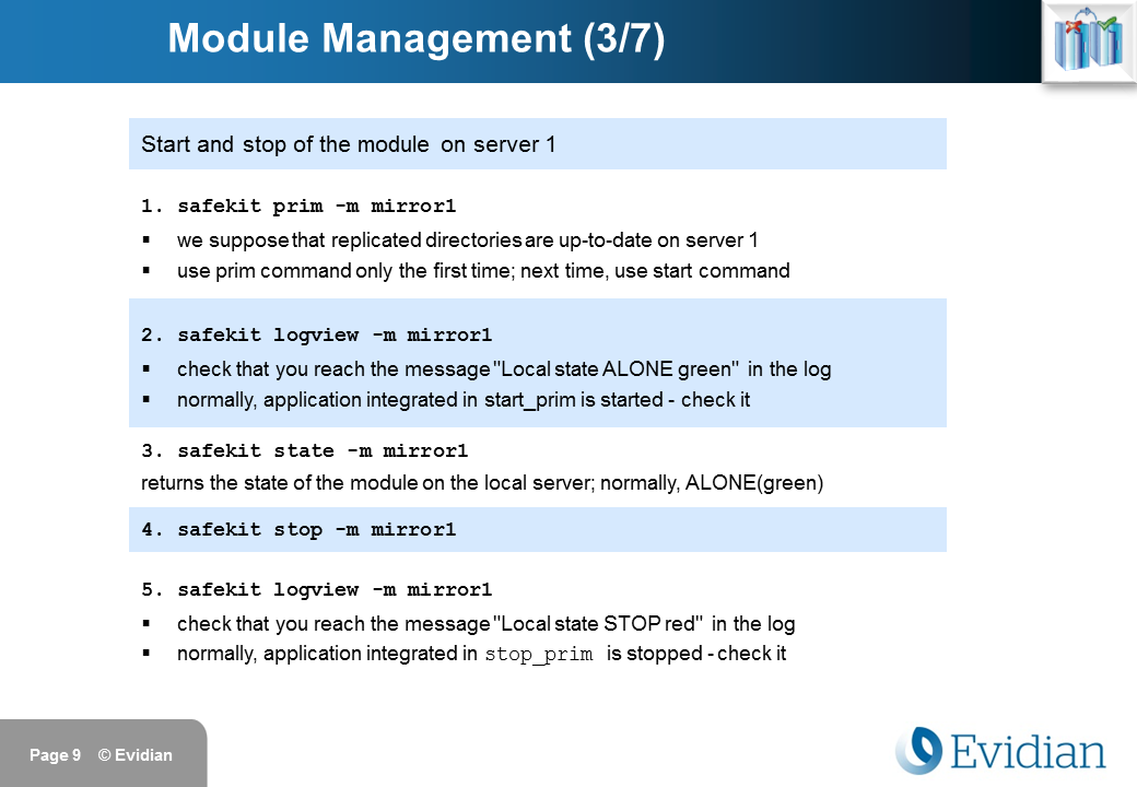 Evidian SafeKit Training - Command Line Interface - Slide 9