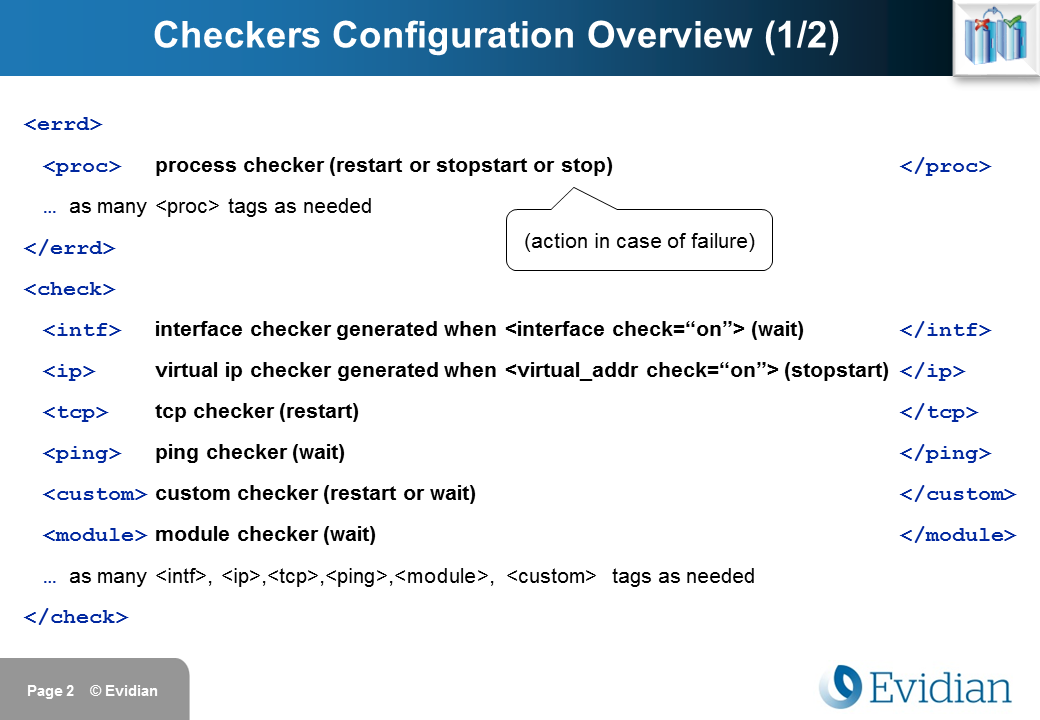 Evidian SafeKit Training - Checkers Configuration - Slide 2