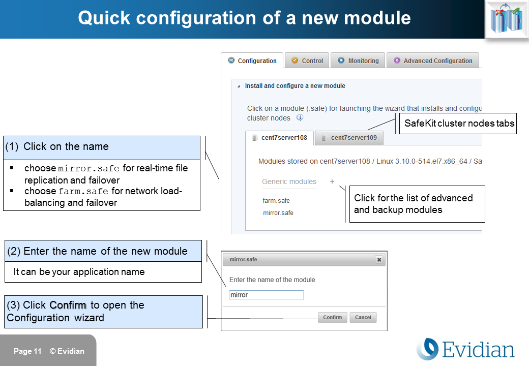 Evidian SafeKit Training - Management Console Web - Slide 11