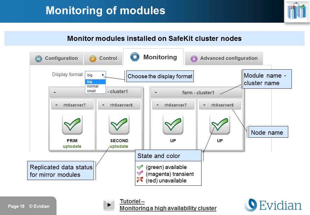 Evidian SafeKit Training - Management Console Web - Slide 18