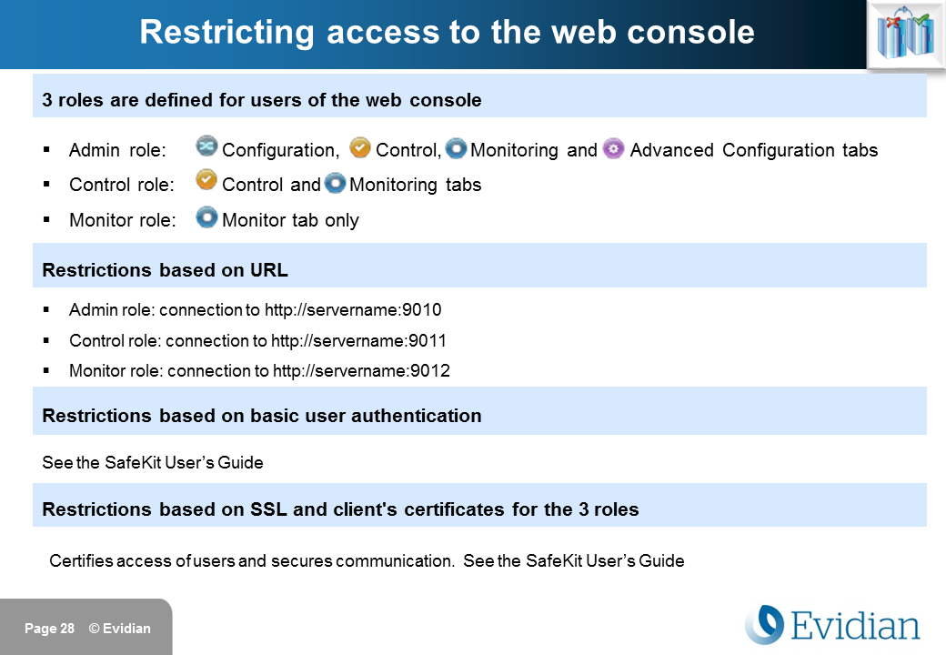 Evidian SafeKit Training - Management Console Web - Slide 28