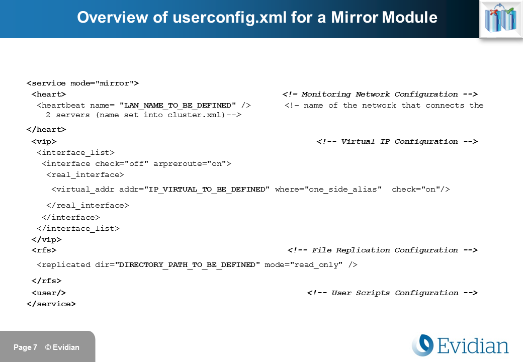 Evidian SafeKit Training - Mirror Module Configuration - Slide 7