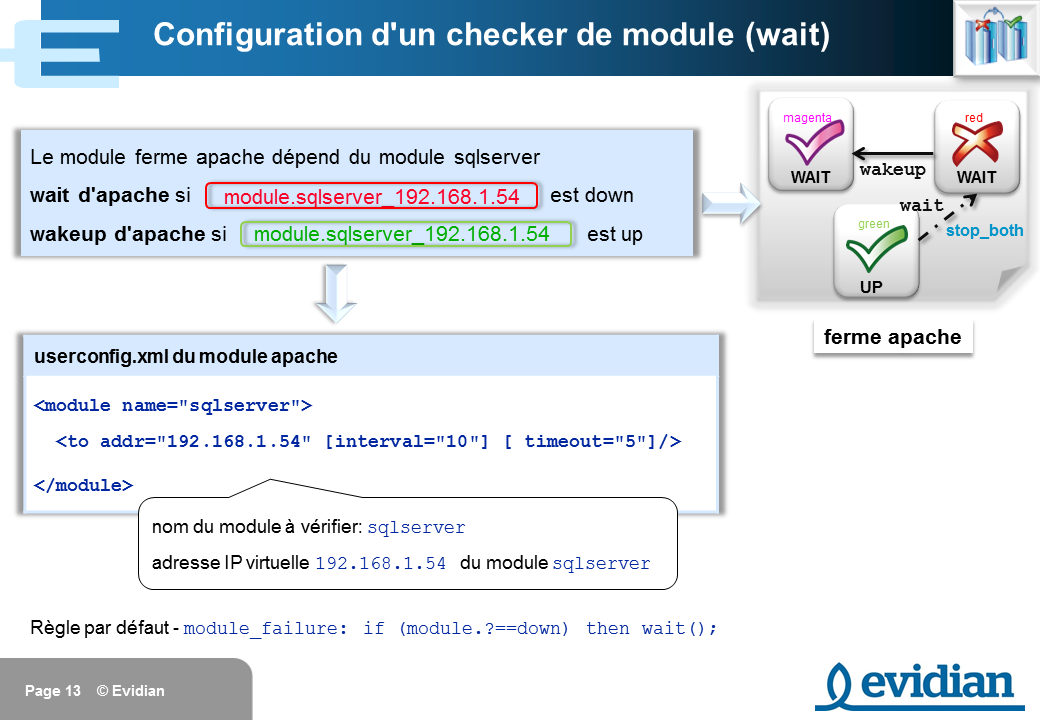 Formation à Evidian SafeKit - Configuration des checkers - Slide 13