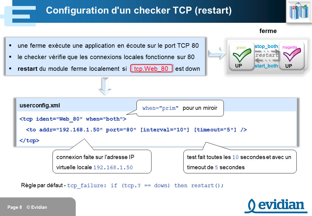 Formation à Evidian SafeKit - Configuration des checkers - Slide 8