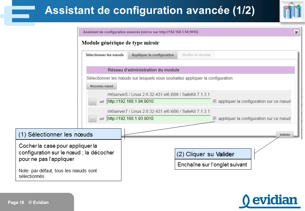 Formation à Evidian SafeKit - Console de gestion web - Slide 18