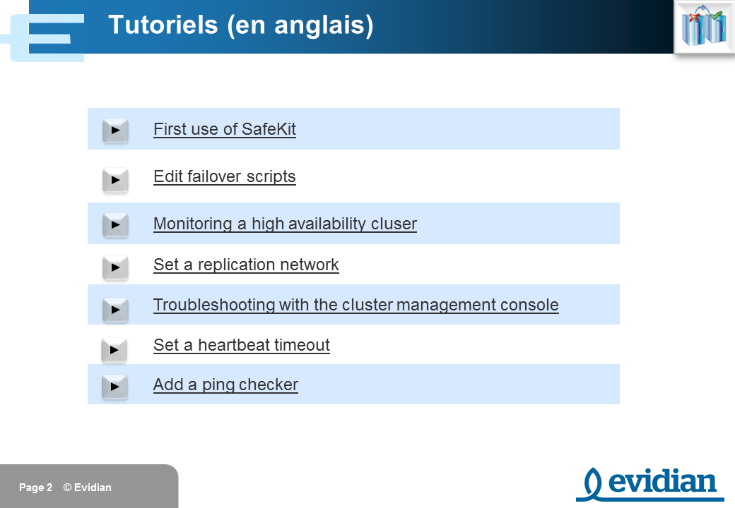 Formation à Evidian SafeKit - Console de gestion web - Slide 2