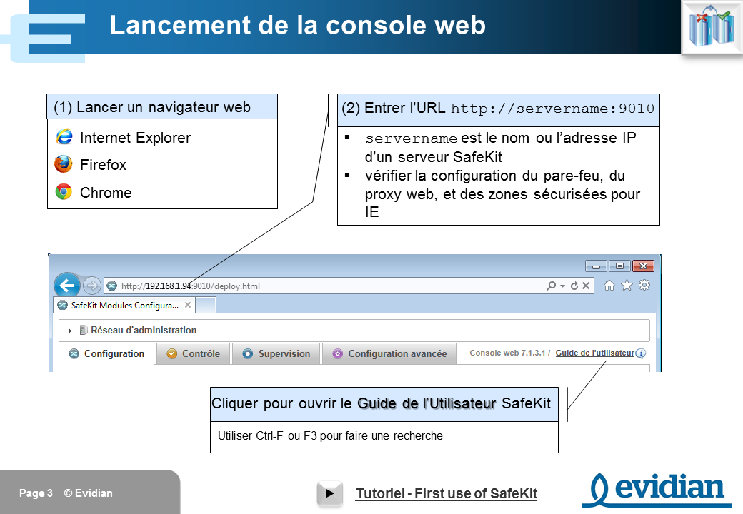 Formation à Evidian SafeKit - Console de gestion web - Slide 3