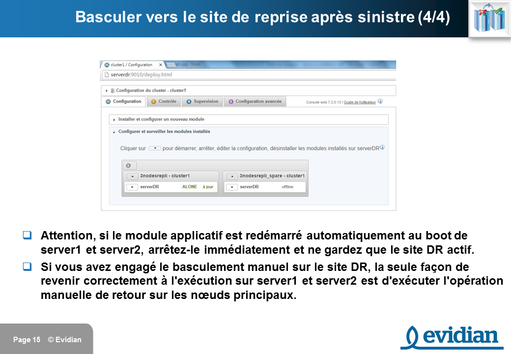 Formation à Evidian SafeKit - Réplication à 3 nœuds  - Slide 15