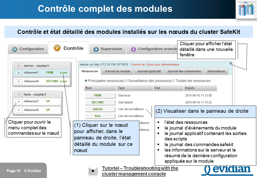 Formation à Evidian SafeKit - Console de gestion web - Slide 19