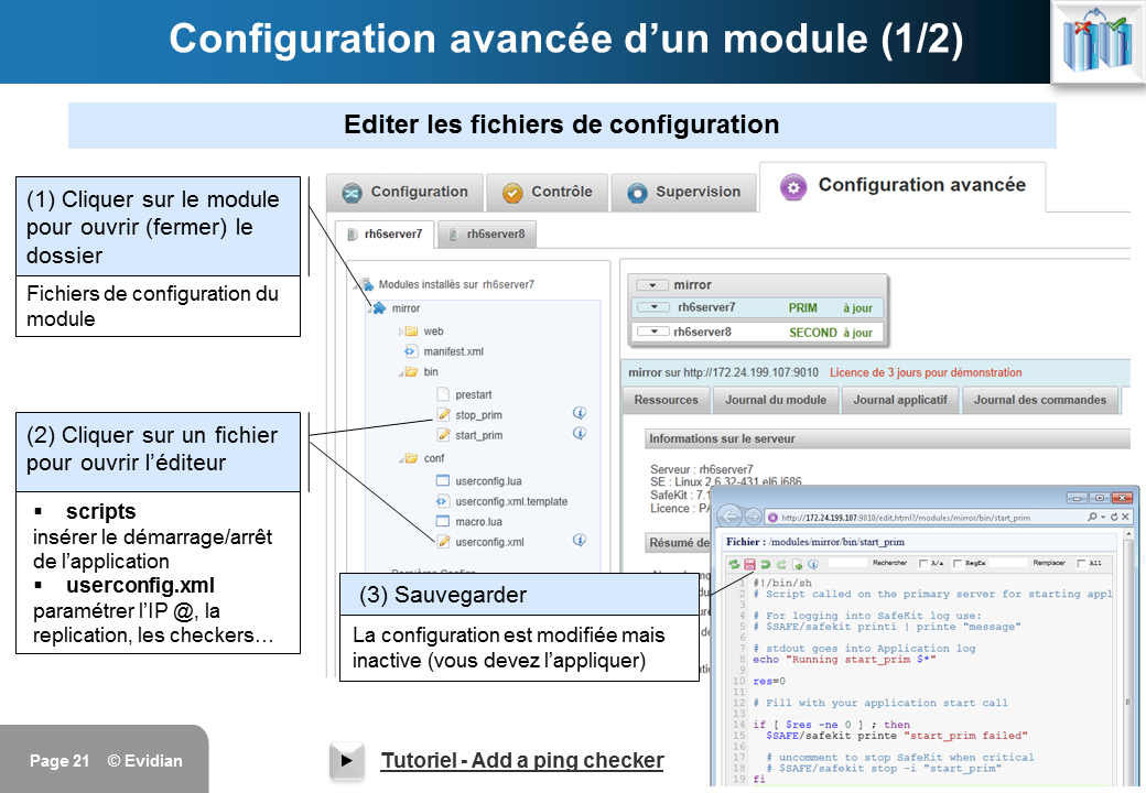 Formation à Evidian SafeKit - Console de gestion web - Slide 21