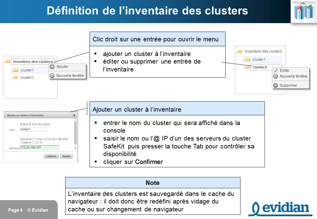 Formation à Evidian SafeKit - Console de gestion web - Slide 4