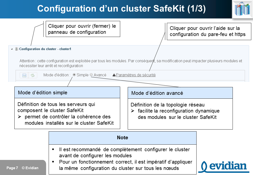 Formation à Evidian SafeKit - Console de gestion web - Slide 7