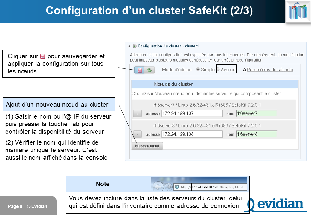 Formation à Evidian SafeKit - Console de gestion web - Slide 8