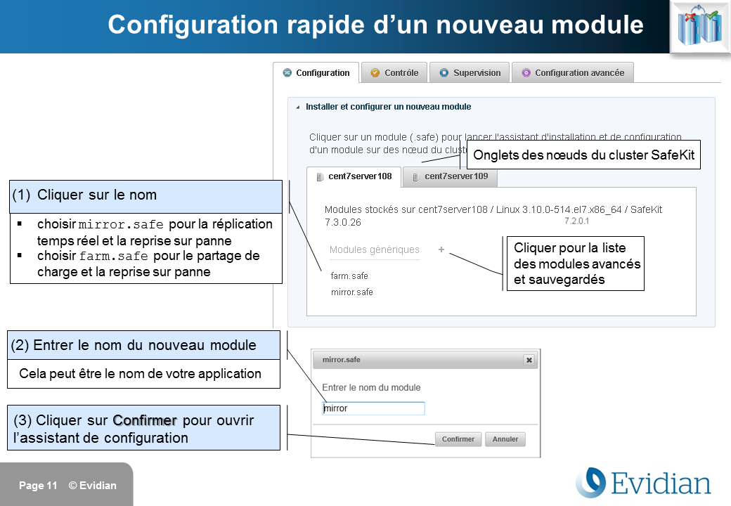 Formation à Evidian SafeKit - Console de gestion web - Slide 11