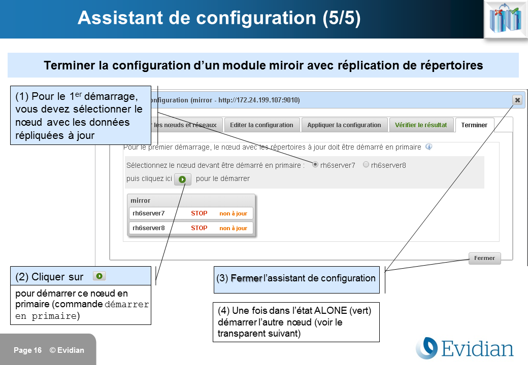Formation à Evidian SafeKit - Console de gestion web - Slide 16