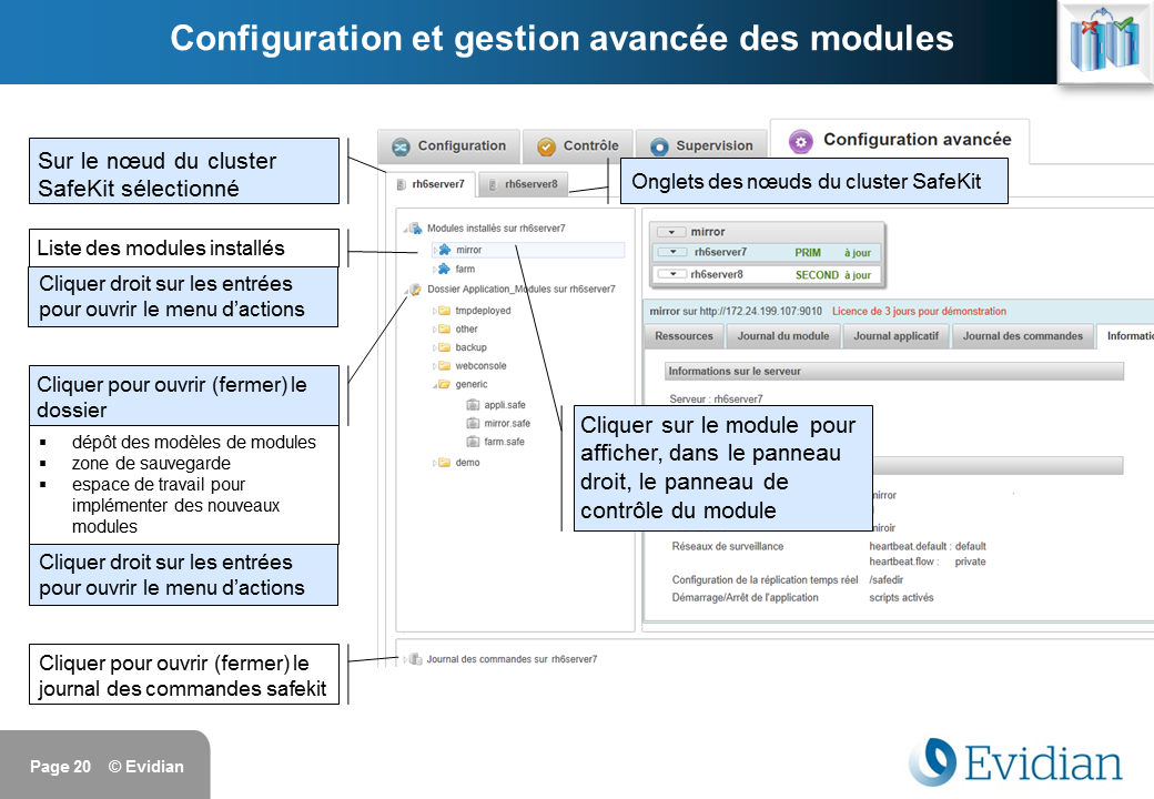 Formation à Evidian SafeKit - Console de gestion web - Slide 20