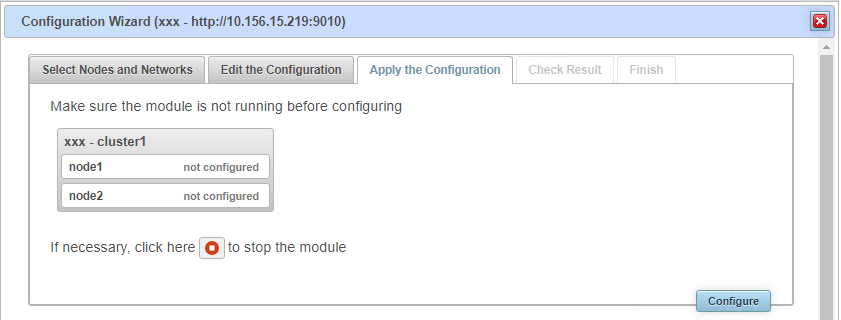 SafeKit web console - stop the Firebird module before configuration the configuration