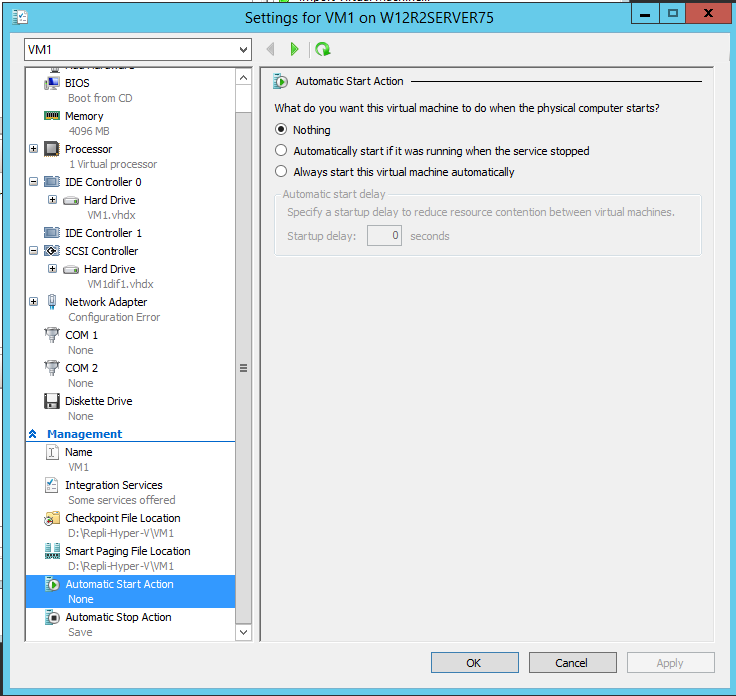 Hyper-V Manager - Automatic start action: none