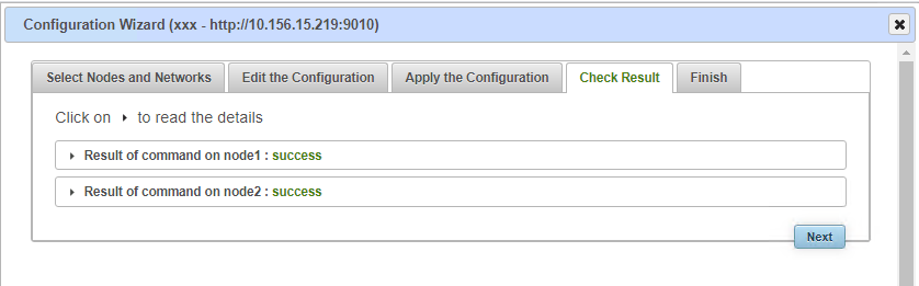 SafeKit web console - check the success green messages of the Apache configuration