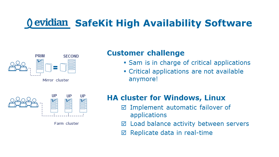 Evidian - SafeKit high availability software - HA cluster